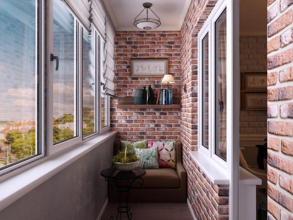 Декоративный кирпич для утепления балкона
